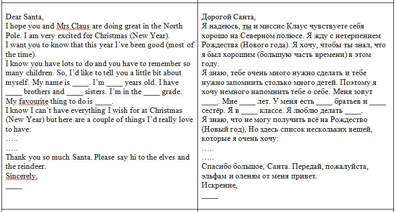 письмо Санта Клаусу на английском 73