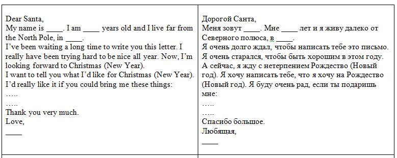 письмо Санта Клаусу на английском 76