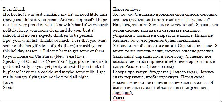 письмо Санта Клаусу на английском 84