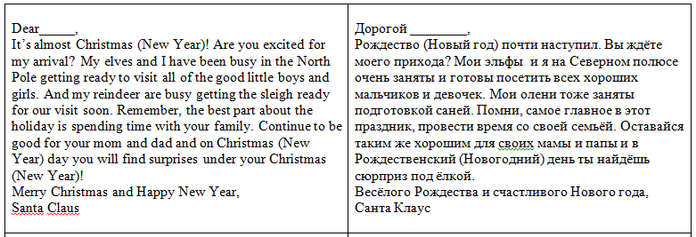 письмо Санта Клаусу на английском 86